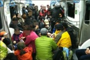 mountain climbers host drinking party on subway