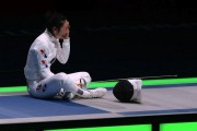 South Korean fencer Shin A Lam sits in protest at loss