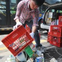 Namyang dairy products dumped on sidewalk in Korea in protest against the company's enethical business practices.