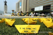A yellow paper boat displays a message .