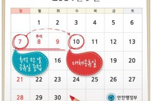 Since one of the days of the Chuseok holiday falls on a Sunday, there will be a substitute day the following Wednesday.
